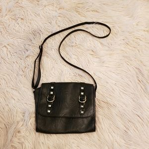 Black crossbody with silver rivets